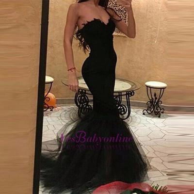 Sweetheart Mermaid Black Tulle Simple Prom Dress_1