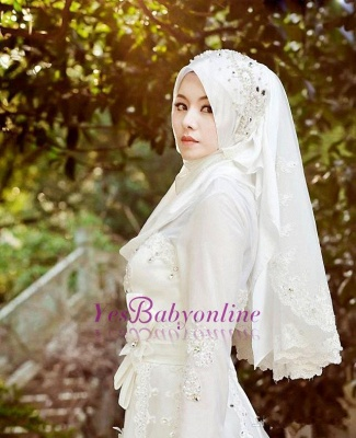 Bowknot Arabic A-line Exquisite Beaded White Wedding Dress_1