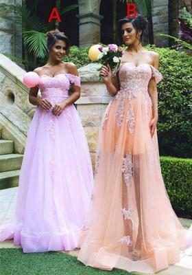 Off-the-shoulder Lace Appliques Gorgeous  Prom Dress_1