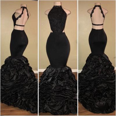 Amazing Black Mermaid Prom Dresses | Sexy Halter Evening Dresses with Pick-Up Skirt_3