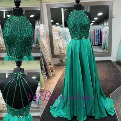 Amazing Dark Green Prom Dresses Long Halter Neck Net Design Top A-line Evening Gowns_1