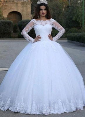 Scoop Lace Ball Gown Wedding Dresses with Long Sleeves_1