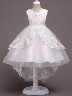 Lovely A-Line Tulle Tea Length Sleeveless Flower Girl Dress with Appliques_1
