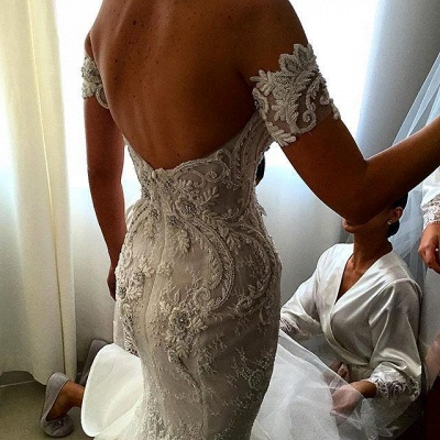 Off-the-shoulder Sweetheart Wedding Dresses | Lace Appliques White Bridal Gowns_3