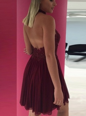 Sexy Open Back Homecoming Dresses   Simple Halter Appliques Cocktail Dresses_3