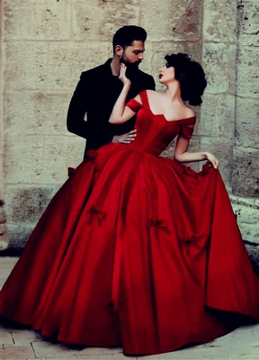 Gorgeous Satin Off-the-Shoulder Red Long Ball-Gown Evening Dresses_2