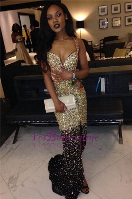 Sparkly Front-Slit Straps Sheath Sleeveless Crystals Cut-Away-Sides Gold Prom Dress_1