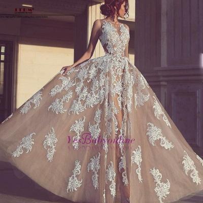 Tulle Appliques A-Line Elegant Sleeveless Wedding Dresses_1