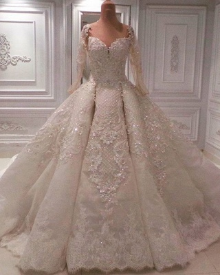 Round Neck Lace Crystal Princess Wedding Dresses with Long Sleeves_1