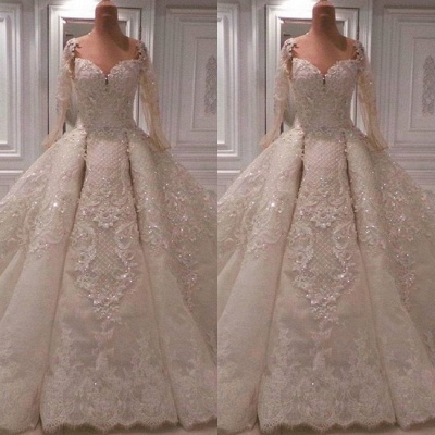 Round Neck Lace Crystal Princess Wedding Dresses with Long Sleeves_2