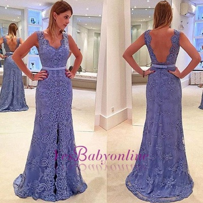 Delicate Sleeveless Lace Front-Split A-line Straps Prom Dress_1
