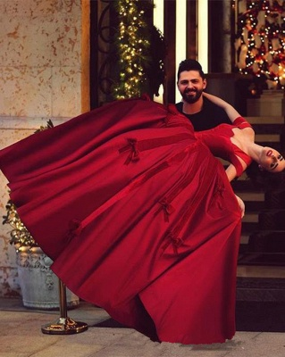 Gorgeous Satin Off-the-Shoulder Red Long Ball-Gown Evening Dresses_3