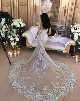 High-Neck Silver Long-Sleeve Lace Charming Mermaid Wedding Dresses_3