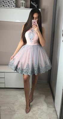 Cute A-Line Short Homecoming Dress  Round Neck Knee Length Prom Dresses with Appliques_3