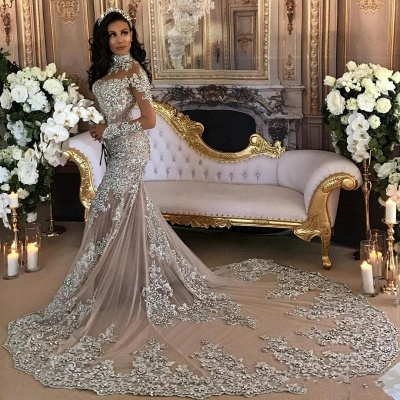 High-Neck Silver Long-Sleeve Lace Charming Mermaid Wedding Dresses_4