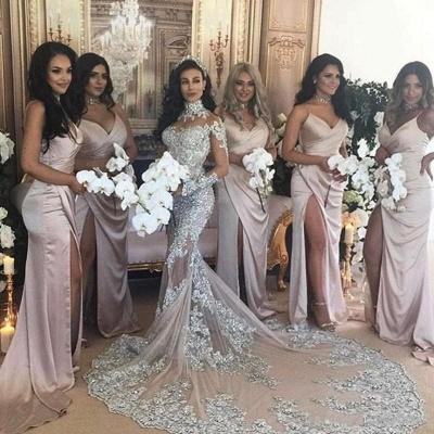 Spaghetti Straps V-neck Satin Sleek Simple Bridesmaid Dresses with Side Slit_3