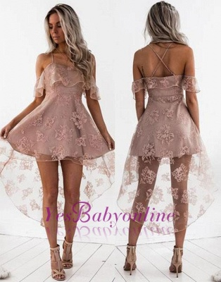 Dusty Pink Homecoming Dresses Ruffles Sheer Layer Short Prom Dresses_1