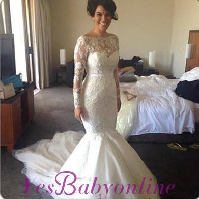 Glamorous Long Sleeves Lace Mermaid Wedding Dresses_1