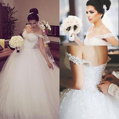 Stunning Off-the-shoulder Beading Appliques Lace-up Princess Ball Gown Wedding Dress_3