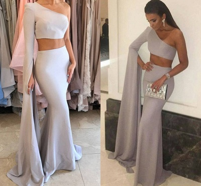 Mermaid Stunning Two-Pieces One-Shoulder Floor-Length Prom Dress_4