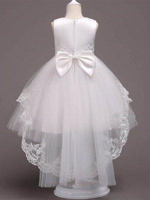 Lovely A-Line Tulle Tea Length Sleeveless Flower Girl Dress with Appliques_3
