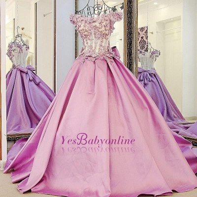 Off-The-Shoulder Flowers Pink Puffy Applique Beaded Bows Prom Dresses_1