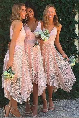 Tea-Length Lace Appliques Newest  Spaghetti-Strap Sleeveless Bridesmaid Dress_2