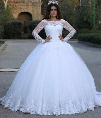Scoop Lace Ball Gown Wedding Dresses with Long Sleeves_2