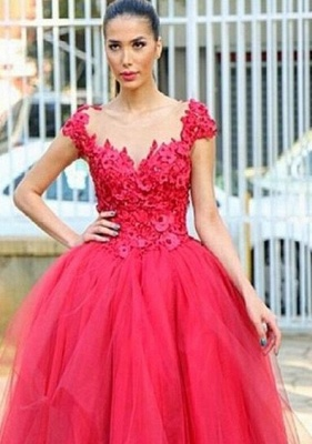 2019 Red Ball Gown Party Dresses 3D-Floral Appliques Hi-Lo Chic Prom Dresses_3