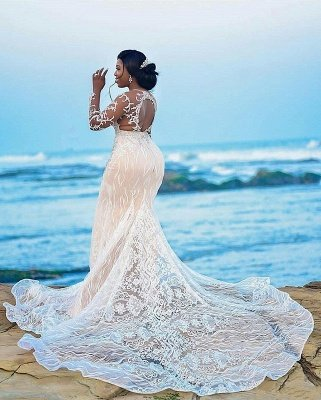 Jewel Sheer Long Sleeves Open Back Wedding Dresses with Lace Details_2