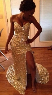 Gold Split Sweetheart Sequins Mermaid Sparkly Prom Dresses_2