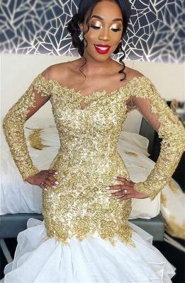 Delicate Sexy Mermaid Wedding Dress |  Gold Lace Long Sleeve Bridal Dress_1