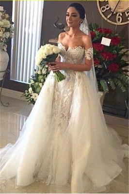 Off-the-shoulder Sweetheart Wedding Dresses | Lace Appliques White Bridal Gowns_1
