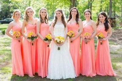 Strapless New-Arrival Ruched Floor-length Simple Bridesmaid Dresses_3