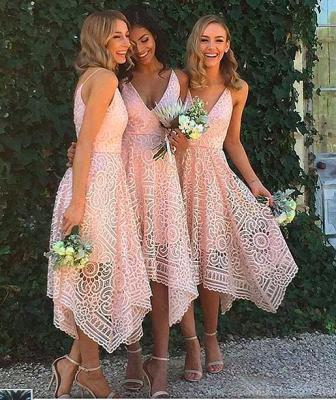 Tea-Length Lace Appliques Newest  Spaghetti-Strap Sleeveless Bridesmaid Dress_3