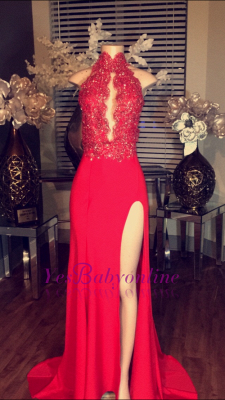 2019 Red Chiffon Prom Dresses Keyhole High Neck Lace Appliques Side Split A-line Formal Gowns_1