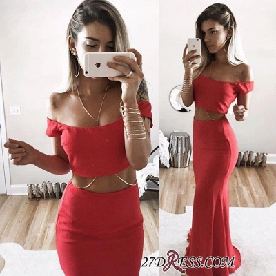 Long Two-Piece Mermaid Sexy Off-Shoulder Red Prom Dress_1