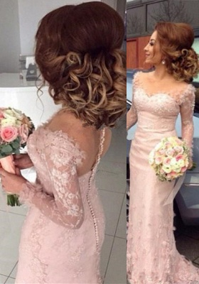 Long-Sleeve Sheer Lace Appliques Buttons Pink Sheath Bridesmaid Dress_3