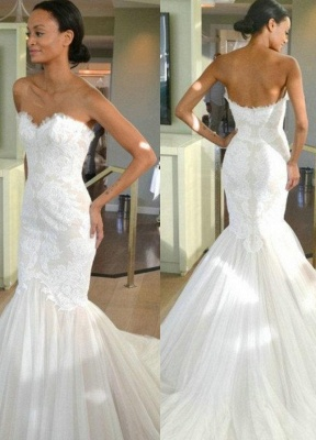 Sleeves Tulle Strapless Sweep-train Lace Mermaid Wedding Dress_2