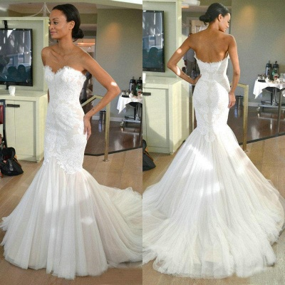 Sleeves Tulle Strapless Sweep-train Lace Mermaid Wedding Dress_3