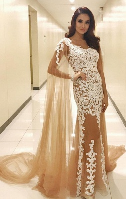 Long Lace Scoop Popular Prom Dresses_3
