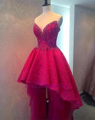 Glamorous Sweetheart Lace Beadings Hi-lo Homecoming Dress_1