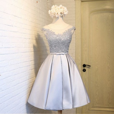 Sliver Newest Dresses Homecoming Mini A-Line Scoop Sleeves Cap Lace Cocktail Dresses_4