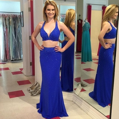Sexy Sleeveless Halter Royal-Blue Beads Mermaid Prom Dress_3