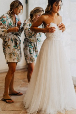Chic Sweetheart Wedding Dresses   A-Line Open Back Bridal Gowns_4