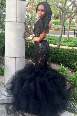 Sexy Black Mermaid Prom Dresses Lace Appliques  Backless Evening Gowns_3