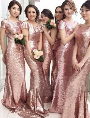 Sequined Mermaid Gorgeous Short-sleeve Jewel Pink Bridesmaid Dress_3