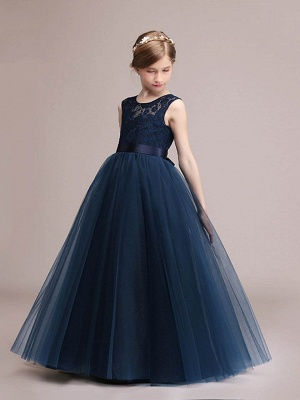 Lovely A-Line Tulle Lace Scoop Sashes Floor-Length Flower Girl Dress_1