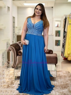 V-Neck Brilliant A-Line Plus-Size  Beading Prom Dresses_2