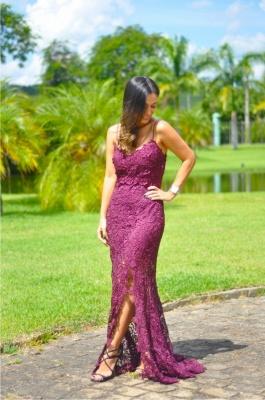 Sleeveless Long Elegant Split Spaghetti-Straps Full-Lace Prom Dress_3